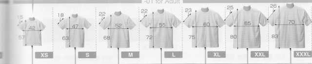 Tシャツ サイズ表